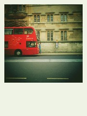 city bus... (urbantraveller) Tags: street camera city red bus mobile polaroid high university phone little cell retro desire oxford hd android app htc