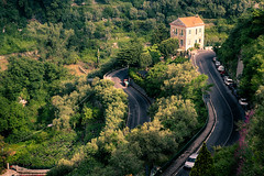 Road to Ravello (QuikSink) Tags: road travel trees windows italy house holiday black building green cars garden italia exploring hill curves curvy fromabove hills adventure foliage vegetation roads hdr ravello twisty birdseye twisting canon2470mm canon5dmkiii may2012