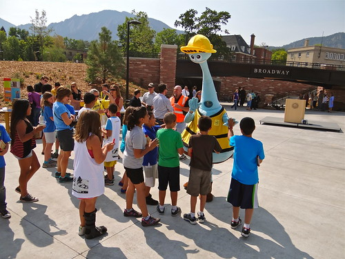 Photo - Heads Up Boulder mascot greets students from Uni Hill Elementary