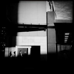 Shopping and shadows (Albion 'a whole lotta busy' Harrison-Naish) Tags: street light shadow urban blackandwhite bw monochrome architecture square blackwhite candid sydney squareformat nsw newsouthwales bnw iphone bondijunction explored mobilephotography iphone4 johnslens iphoneography hipstamatic blackeyssupergrainfilm streetphotogoraphy