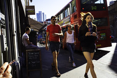 * (Chris JL) Tags: uk color bus london walking cigarette candid streetphotography shoreditch hoxton kingslandroad amicimiei 242 choral e2c jaguarshoes fujix100 chrisjl
