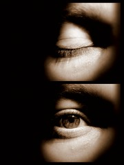 Windows (Gareth Priest) Tags: uk light shadow portrait brown white selfportrait man black detail eye face collage closeup sepia wales dark eyes nikon closed experimental open opposite creative cardiff difference tones viceversa coolpixl120
