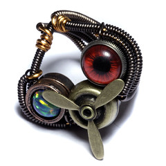 Airship Pirate Steampunk Ring - Red taxidermy glass EYE - lab Opal - Brass Propeller - SIZE 7.5 ONLY (Catherinette Rings Steampunk) Tags: fiction eye metal wire punk natural handmade wrapped jewelry steam ring eyeball copper propeller opal artisan steampunk catherinetterings catherinettering