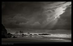 Motukiekie (Pete Prue) Tags: ocean sea newzealand blackandwhite bw seascape beach landscape blackwhite sand rocks surf nz southisland sunburst westcoast punakaiki prue nationalgeographic greymouth bwpete motukiekie peteprue