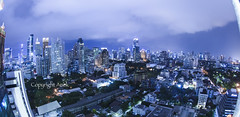 Bangkok city night view (anekphoto) Tags: road park street city travel blue windows roof shadow sky urban blur reflection building tower pool grass vertical skyline architecture modern night clouds skyscraper port river way landscape thailand hotel town office high asia downtown cityscape waterfront view apartment bangkok district bank front business condo tropical symmetric residence condominium logistic
