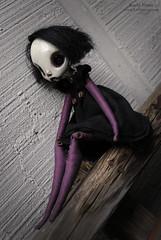 Five (cheekiebottoms) Tags: black dark doll purple buttons oneofakind ooak artdoll karlyperez cheekiebottoms