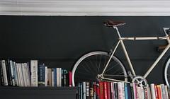 Grey Bike (I am Cheapskate) Tags: leather bike wall dark grey bedroom paint flat fixie custom cupboard brooks farrowball