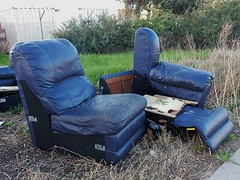 Comfortable Rubbish (mikecogh) Tags: leather comfortable rubbish discarded seaton dumped armchairs
