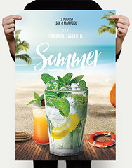 Pool Party Flyer (DusskDesign) Tags: pool party flyer mojito cocktails drinks beach desert menu summer psd template poster cover nature tropical exotic