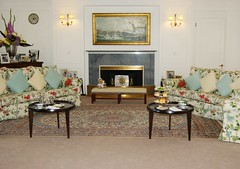 Royal Lounge on the Yacht Britannia (lindawood2414) Tags: yacht boat chairs settee tables carpet food cups cushions lights flowers teddy