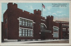 Front: Michigan State Armory and Police Station, Kalamazoo, Mich (kplcommons) Tags: michigan state armory police station brick crenelations flag outside sidewalk postcard kalamazoopublicschools