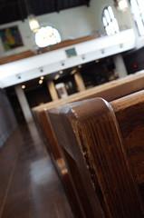 Rikkyo All Saints Chapel (Sho Martin) Tags: rikkyo university chapel all saints allsaints wood chair chairs church macro japan japanese tokyo ikebukuro christ christianity christian anglican ricoh gr
