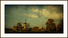 before the storm.... (Zino2009 (bob van den berg)) Tags: light texture mill museum painting landscape evening border creative schilderij legacy deventer overijssel lijst bathmen pieceofart lightstorm thelion 1523 korenmolen bobvandenberg zino2009
