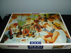 "4000 piece puzzle, ""Luncheon at the Boating Party,"" by Pierre-Auguste Renoir, Waddingtons, England. (Billsville Mike) Tags: old england mike painting french pierre puzzle jigsaw piece rare impressionist auguste renoir 4000 waddingtons billsville"