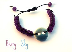 Berry Sky (Leah C.) Tags: blue sky art agate leather ceramic berry purple handmade button bracelet bead macrame glazed