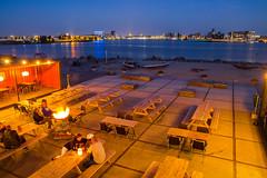 Pllek (fands85) Tags: blue holland water netherlands amsterdam skyline bar boats golden hour ij ndsm peoplle pllek