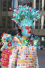 Whimsical Costume (shaire productions) Tags: sf sanfrancisco california street city blue summer people urban streets smile smiling june festival fun happy person photography photo costume outfit crazy colorful downtown image candid seasonal culture dressup fair pride celebration event photograph lgbt gathering theme faire activity custom fest civiccenter cultural whimsical sfpride sanfranciscopride