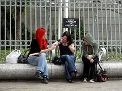 Three (tezzer57) Tags: street ireland girls dublin candid redhead mobilephones