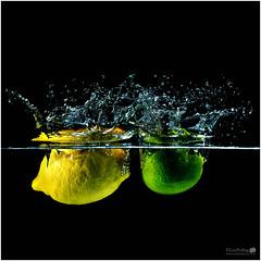Lemon & Lime Splash ( Explored) (LeePellingPhotography.co.uk) Tags: 2 food fish water fruit studio photography aquarium tank flash plus lime splash lemom speedlite aputure trigmaster