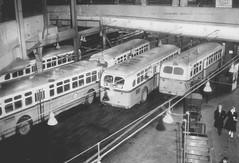 MBTA en 1957, Boston (ROGALI) Tags: storm bus ice buses boston american icestorm 1957 mbta busstation omnibus guagua oldbus busdepot busbarn americanbusd