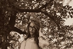 Now and then. (FadedKate) Tags: portrait tree nature girl beauty sepia glasses dramatic brunette fadedkate