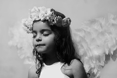To dream dreams (AnnuskA  - AnnA Theodora) Tags: portrait white black flower cute lady angel kid wings child young adorable crown lovely beloved