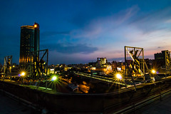 Fake Fish Eye (Raider Chen ) Tags: sky sunset taiwan tainan starburst lightburst night wide building blue light t116 11mm