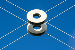 White rings (on Explore) (Jan van der Wolf) Tags: map15138v ring rings ringen abstract composition compositie symmetric symmetry symmetrie blue blauw white wit geometric geometry sky lucht shadow schaduw architeture modernarchitecture architectuur
