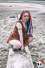 _MG_9663 (Deadly Darling DP) Tags: beach sand nature outdoors dreadlocks gothic goth woman chick tattoos makeup log driftwood tree