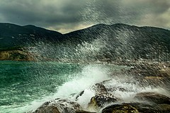 The shower (marielledevalk) Tags: harbor sea water wave greece mountain coastline coast weather storm waterfall ocean