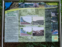 Information panel on the geology of the landslide (schauplatz) Tags: badenwrttemberg deutschland schwbischealb sommer wanderung summer germany wald forest dreifrstensteig hiking landslide landslip geology bergrutsch erdrutsch mssingen infotafel