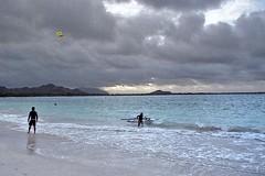 Kailua Beach (3) (AntyDiluvian) Tags: hawaii 2001 30thanniversary oahu northshore beach kailuabeach whitesand surf kiteboarding clouds kitesurfing kailua