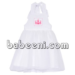 Castle smocked tutu dress (babeeniclothing) Tags: girl children fashion clothing smocked tutu dress party strawberry castle white nice beautiful adorable beauty