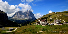 10-IMG_6935 Italian Dolomites (marinbiker 1961) Tags: selva valgardena italy mountains sky greengrass clouds skislopes summer outdoors outdoor mountain landscape hill mountainside field grass grassland