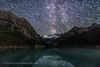 Star Trails over Lake Louise (Amazing Sky Photography) Tags: advancedstackerplus alberta banffnationalpark lakelouise summer victoriaglacier lake reflection startrails stars water