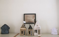 eventually a street.... (cathy cullis) Tags: houses home paper ceramics folkart mixedmedia contemporary photograph inprogress bookcase papiermache primitive oldbooks bookpages