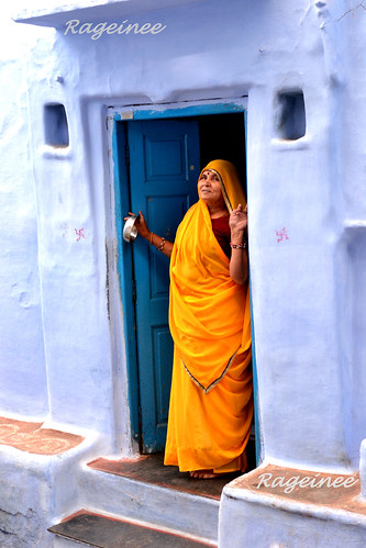 Lady in yellow sari