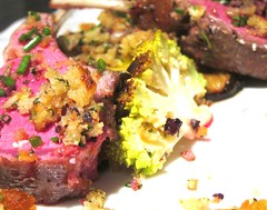 Lamb with olive, feta crust and Romanesco Cauliflo