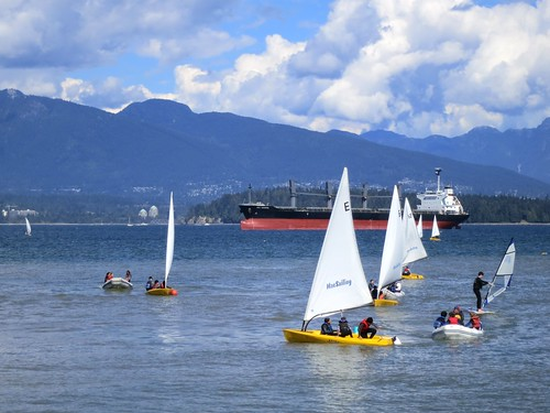 ocean mountains vancouver sailboat boat sailing view englishbay rib windsurfer jerichobeach dinghy freighter