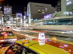 sleepless (Dan.212) Tags: street city lines station yellow japan night skyscraper lights tokyo evening shinjuku taxi backlights fujifilmfinepixf31fd