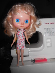 CA in my first proper dress, attempted on my mini sewing machine..