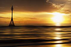Golden blur. Crosby beach (Ianmoran1970) Tags: sunset sea blur beach water gold golden sand photograph marker mile windfarm crosby milemarker ianmoran burbobank ianmoran1970