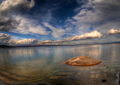 Blue Sunset (Sigmund Freud1) Tags: old blue sunset lake west water clouds sunrise angle wide grand stormy olympus basin springs thumb yellowstone lower geyser hdr eruption faithful p01 prismatic fcon epl2