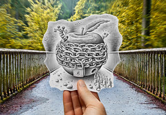 Pencil Vs Camera - 70 (Ben Heine) Tags: road street bridge trees food art apple nature strange leaves animals fruit danger forest giant insect landscape fun lost photography sketch vanishingpoint perception leaf cadenas key closed hand drawing path walk mixedmedia surrealism gardenofeden crowd perspective samsung dessin creepy chain locker illusion fantasy scales knowledge pont imagination series worm rotten genesis dimension 70 locked littlemen fort feuille adamandeve echelle cl pourri radialblur ferm forbiddenfruit asticot giantapple thisisno