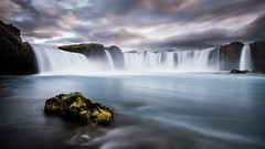 Eternal Flow (andywon) Tags: travel light sunset vacation nature water rock clouds landscape flow island waterfall iceland europe godafoss
