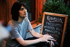 Mike at Rubirosa (Ashley Baxter) Tags: newyork mike tattoo dinner photographer manhattan littleitaly rubirosa