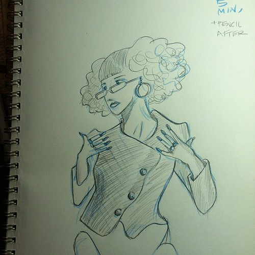 From Dr. Sketchy's yesterday. The blue was a 5 minute pose. 2B Pencil this morning.