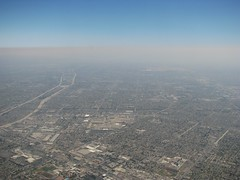 the inland suburbs of Los Angeles (Dan_DC) Tags: smog haze horizon aerialview aerial environment suburbs sprawl habitat inland freeways losangelescalifornia airpollution laarea