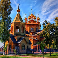 Russian wooden church II (Gena Golovskoy) Tags: sun reflection church cross orthodox belgorod ruissia mygearandme mygearandmepremium mygearandmebronze mygearandmesilver mygearandmegold mygearandmeplatinum mygearandmediamond
