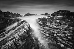 Genesis (Russ Barnes Photography) Tags: longexposure sea blackandwhite mono coast nikon rocks monochromatic genesis d800 hartland northdevon primeval leefilters 10stopndfilter russbarnes leebigstopper zeiss21mmzf2